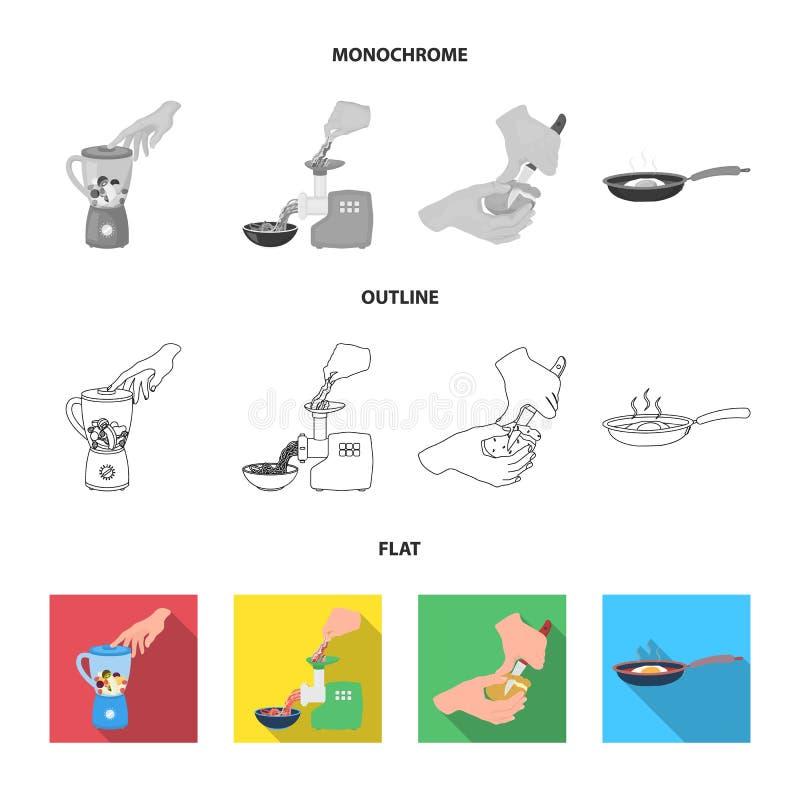 Wyposażenie, urządzenia, urządzenie i inna sieci ikona w mieszkaniu, kontur, monochromu styl , kucharz, tutsi Kuchnia, ikony wewn ilustracji