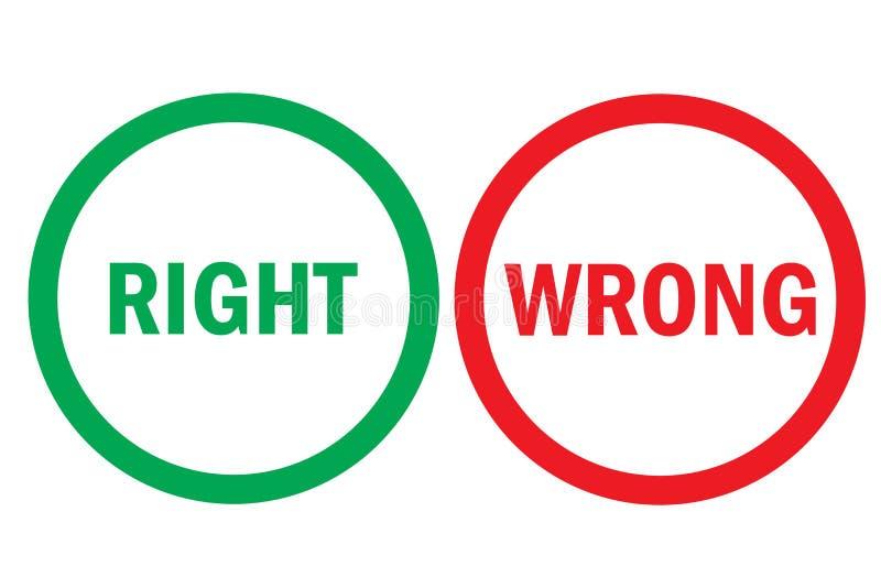 Wyprostowywa lub mylni pozytywni negatywni oceny czerwieni zieleni guziki Prości pojęć argument za kantują, korygują lub mylą się royalty ilustracja