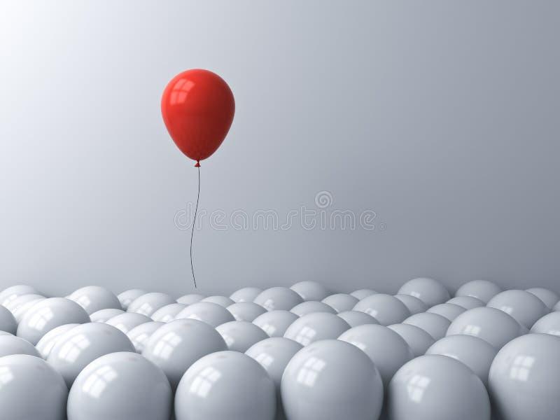Wyróżnij się od tłumu i pomyśl, albo pomyśl, że poza pudełkiem pomysły twórcze jeden czerwony balon unoszący się nad białym royalty ilustracja