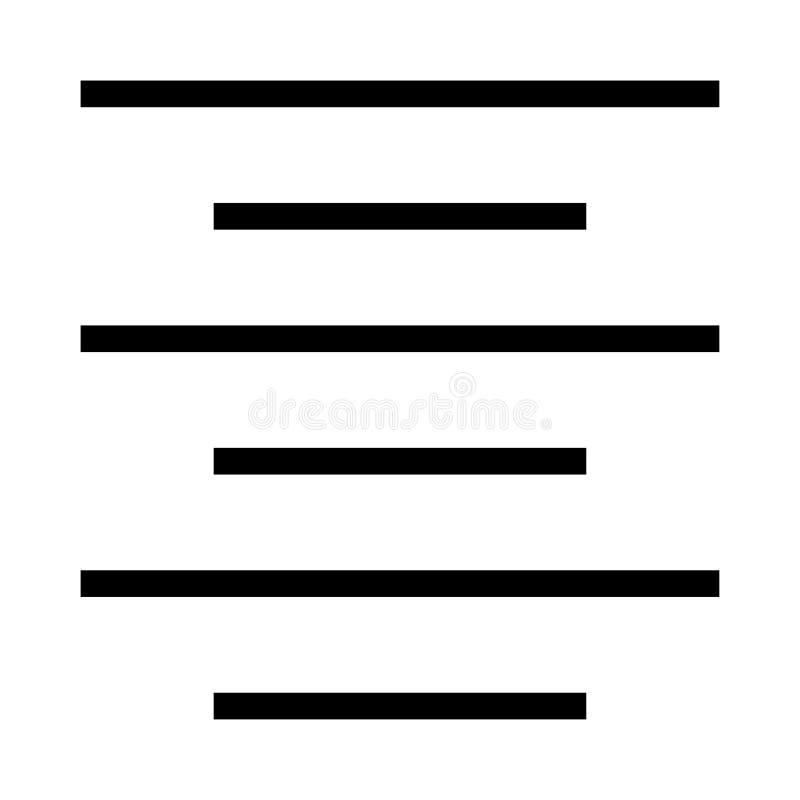 Wyrównanie wektoru linii ikona royalty ilustracja