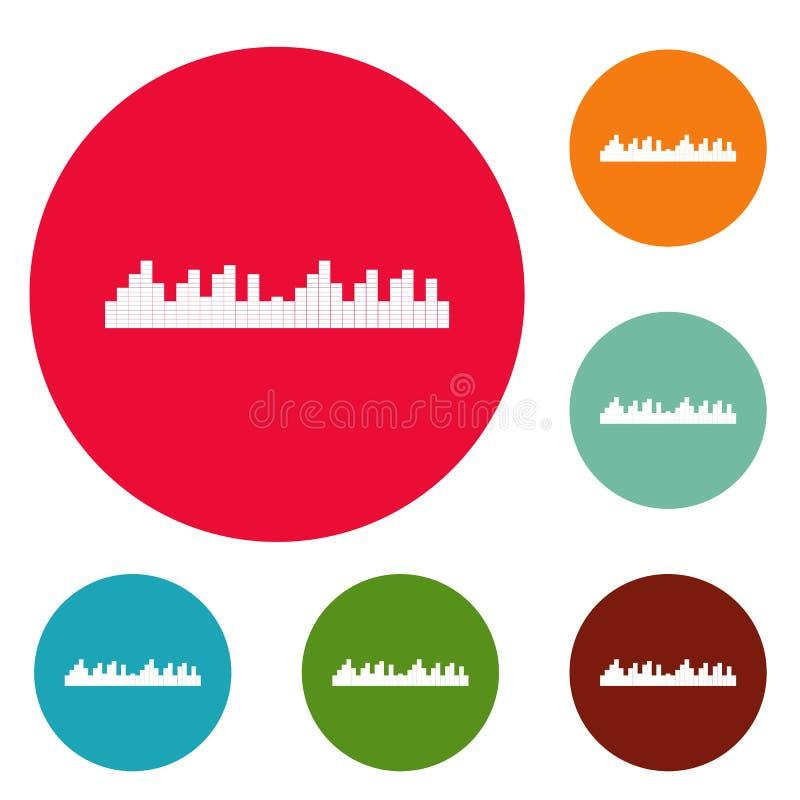 Wyrównywacz częstotliwości ikon okręgu ustalony wektor ilustracji