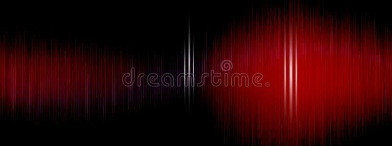Wyrównywacz, Rozsądna fala, falowe częstotliwość, lekki abstrakcjonistyczny tło, Jaskrawy, laser Czerwony Rozsądnych fala oscylow ilustracji