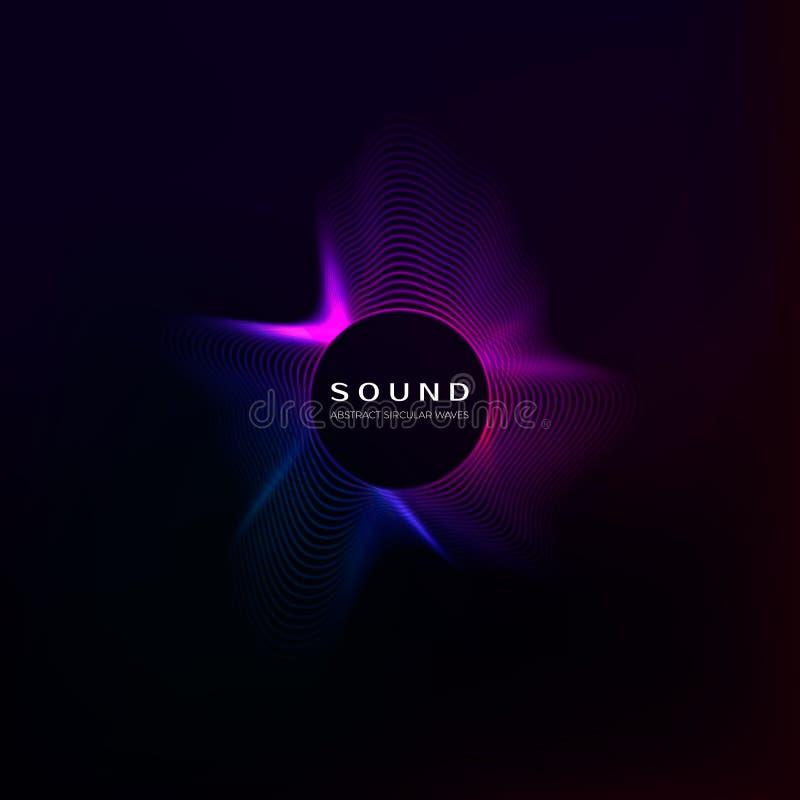 Wyrównywacza pojęcie Audio falowy wibrujący skutek Cyfrowego koloru dźwięka krzywa również zwrócić corel ilustracji wektora ilustracji