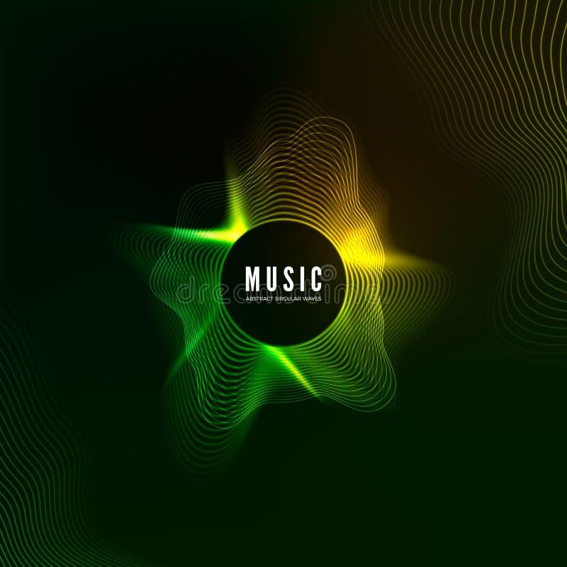 Wyrównywacza pojęcie Projekt muzyczny tło Audio falowy wibrujący skutek Cyfrowego koloru dźwięka krzywy wzór również zwrócić core royalty ilustracja