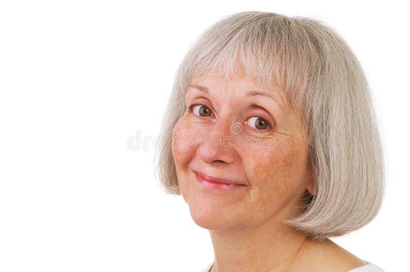 wyrażeniowa starsza uśmiechnięta słodka kobieta obraz stock