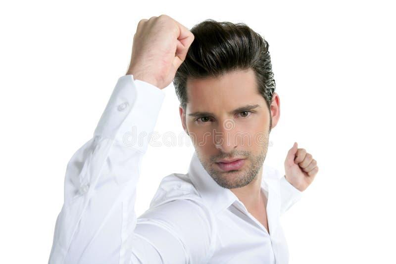 wyrażeniowego gesta mężczyzna pomyślni potomstwa zdjęcia stock