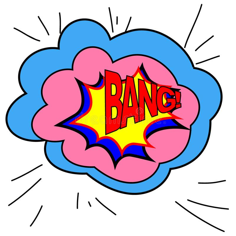 Wyrażeniowy bąbel z uderzenie wystrzału sztuki stylem Komiksu styl Wektorowa ilustracja, efekta dźwiękowego uderzenie ilustracji