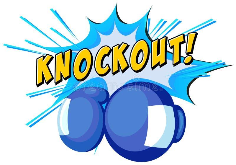 Wyrażeniowy nokaut i bokserskie rękawiczki ilustracji