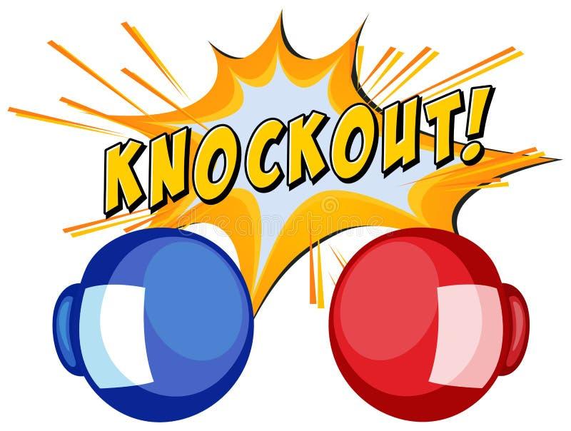 Wyrażeniowy nokaut z dwa bokserskimi rękawiczkami royalty ilustracja