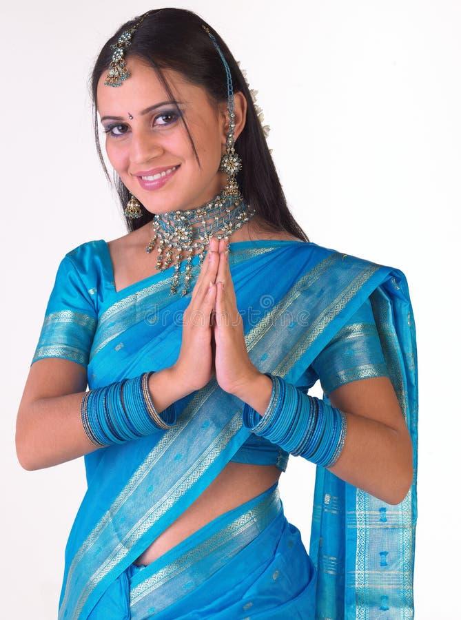Wyrażeniowy Dziewczyny Hindusa Powitanie Zdjęcie Royalty Free