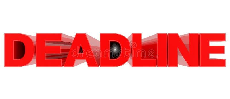 Wyraz DEADLINE izolowany na białym tle renderowania 3d ilustracja wektor