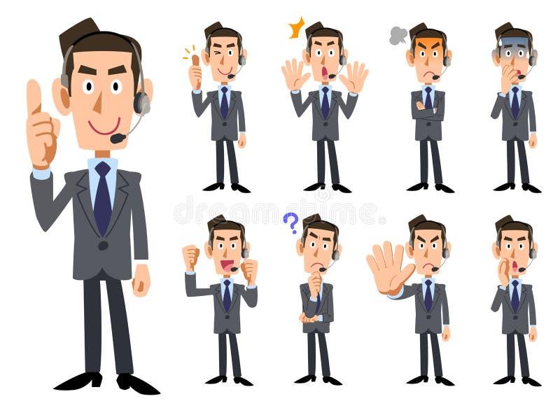 Wyrazy twarzy i gesty męscy operatorzy ilustracja wektor