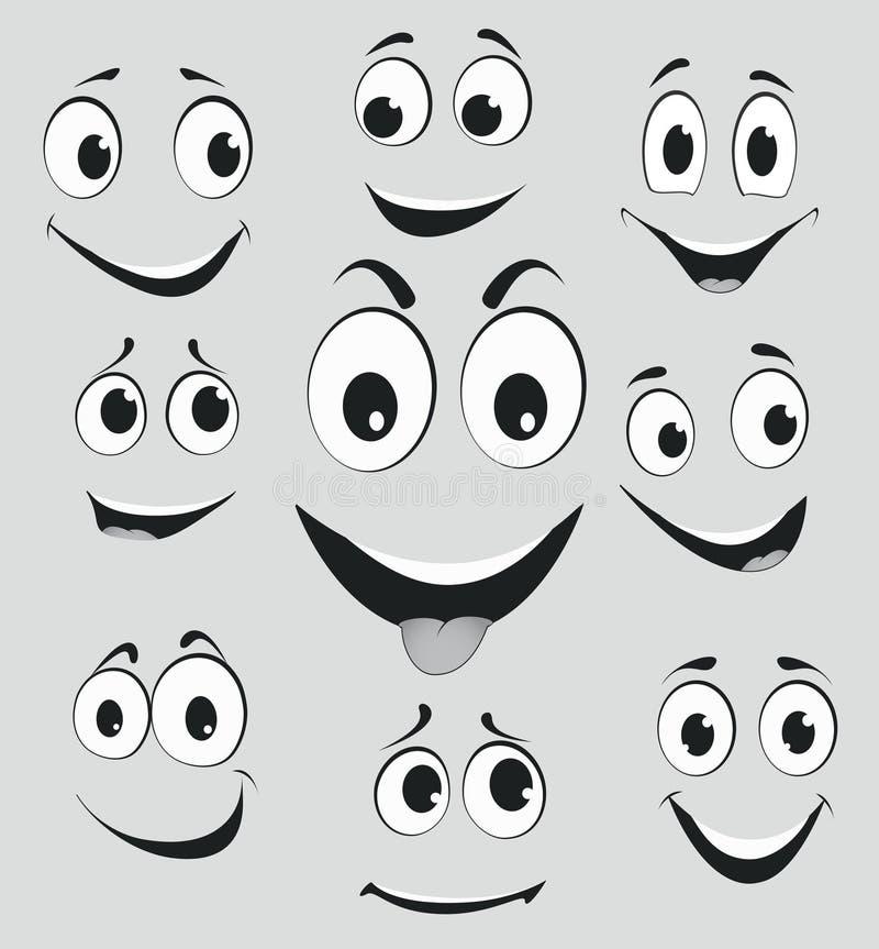 Wyrazy twarzy, kreskówki twarzy emocje royalty ilustracja