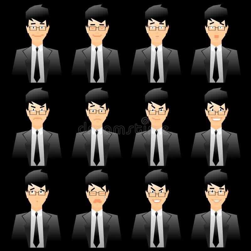 wyrazy twarzy urzędowania człowieku ilustracja wektor