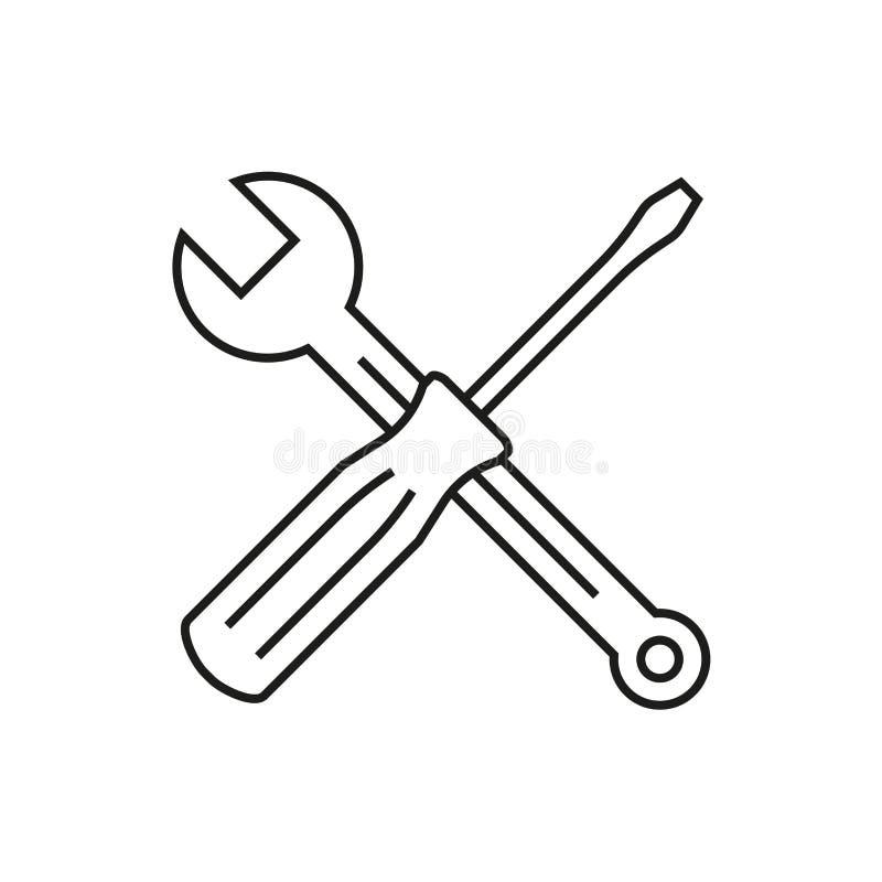Wyrwania i śrubokrętu konturu ikona Toolkit symbol również zwrócić corel ilustracji wektora royalty ilustracja