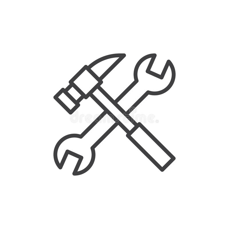 Wyrwania i młota kreskowa ikona, konturu wektoru znak, liniowy stylowy piktogram odizolowywający na bielu ilustracja wektor