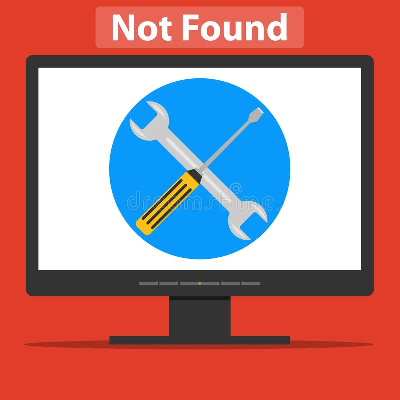 Wyrwanie i śrubokręt na ekranie komputerowym Strona błąd royalty ilustracja