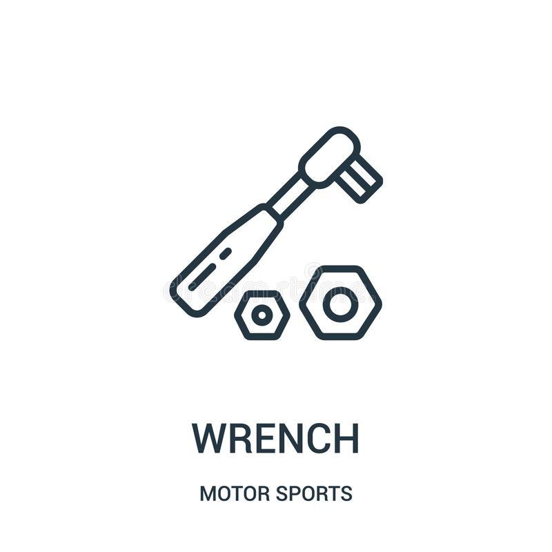 wyrwanie ikony wektor od motorowych sport?w inkasowych Cienka kreskowa wyrwanie konturu ikony wektoru ilustracja Liniowy symbol royalty ilustracja