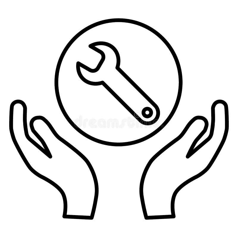 Wyrwanie w ręki linii ikonie wsparcie techniczne Remontowa usługa Płaska prosta kontur ilustracja odizolowywająca na bielu ilustracji