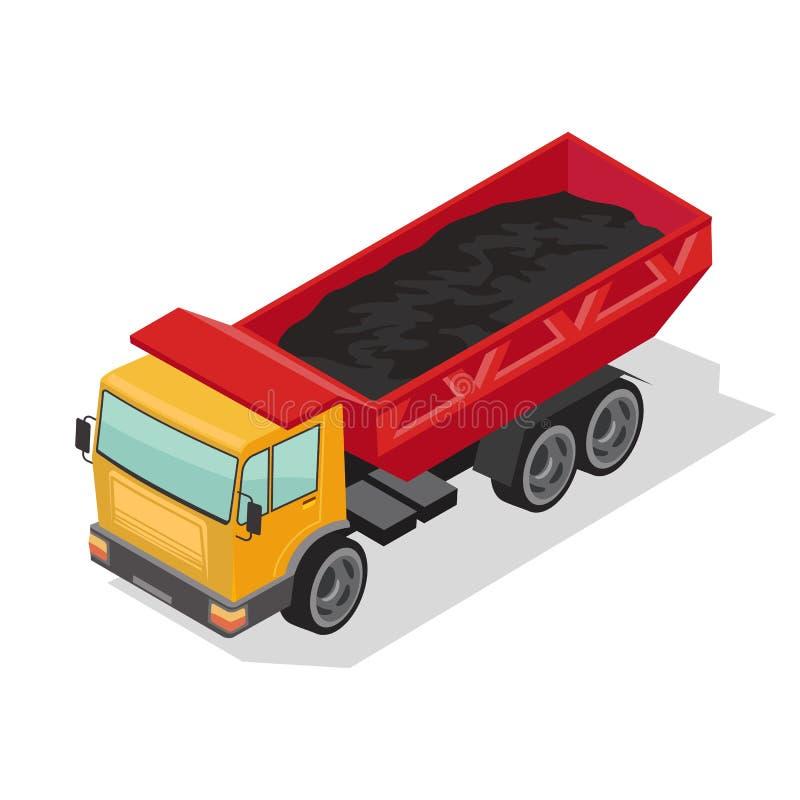 Wyrzuć ciężarówkę z żółtą kabiną i czerwonym korpusem, dostarczając czarny materiał Ciężki wysypisko, ciężarówka ilustracji
