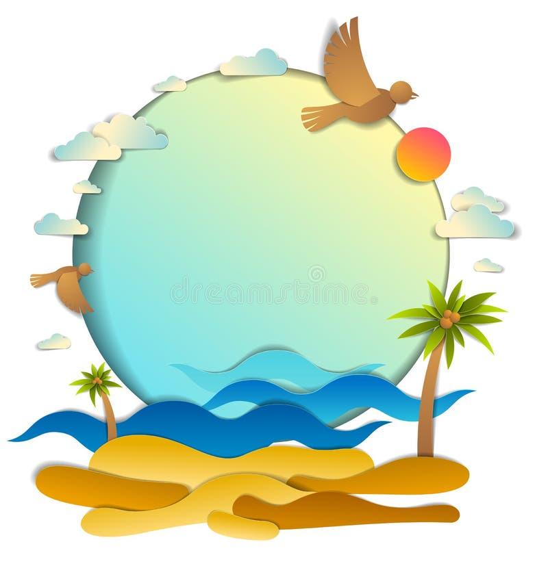 Wyrzucać na brzeg z palmami, denne fale doskonalić seascape, ptak chmury i słońce w niebie, ramowy tło z kopii przestrzenią, lato royalty ilustracja