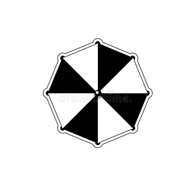 Wyrzucać na brzeg pasiastą parasolową odgórnego widoku ikonę odizolowywającą na białym tle ilustracja wektor