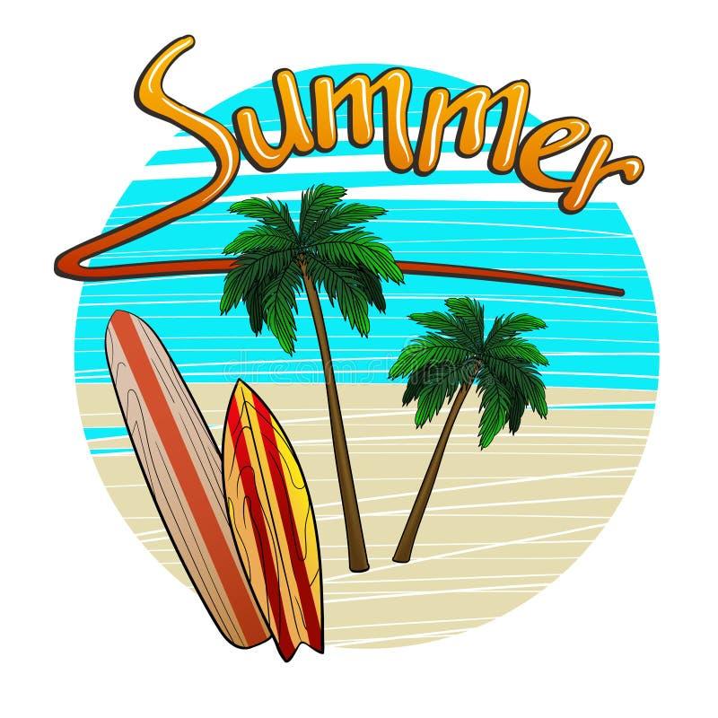 Wyrzucać na brzeg z drzewkami palmowymi i surfboards z wpisowym latem ilustracja wektor