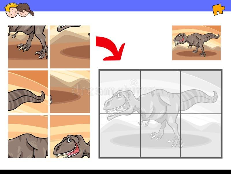 Wyrzynarek łamigłówki z tyrannosaurus dinosaura charakterem royalty ilustracja