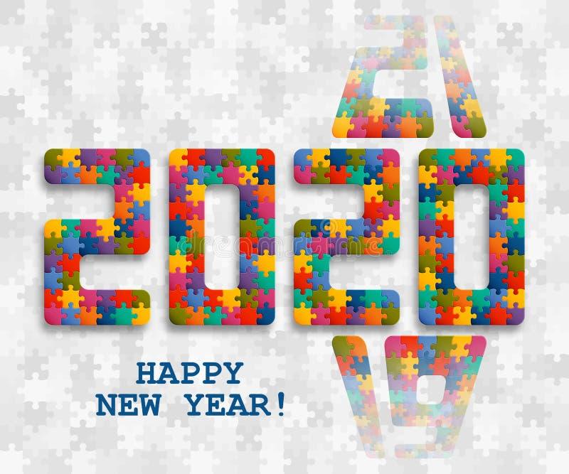 2020 wyrzynarki łamigłówki tło z wiele kolorowymi kawałkami Szczęśliwego nowego roku Karciany projekt Abstrakcjonistyczny mozaika royalty ilustracja