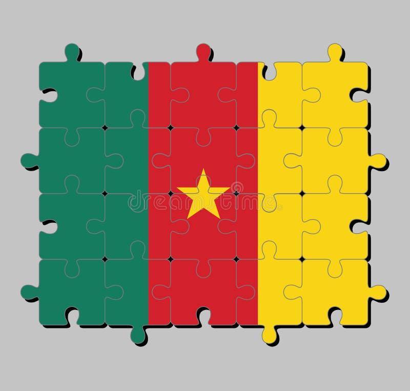Wyrzynarki łamigłówka Cameroon flaga w zielonej czerwieni i kolorze żółtym, z złocistą gwiazdą royalty ilustracja