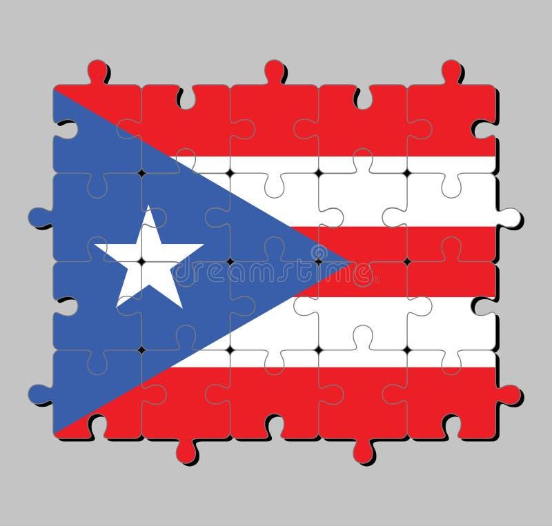 Wyrzynarki łamigłówka Puerto Rico flaga w horyzontalnych białych, czerwonych zespołach z równoramiennym trójbokiem opierającym si ilustracji