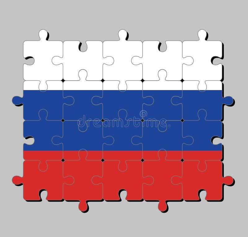 Wyrzynarki łamigłówka Rosja flaga w tricolor fladze składa się trzy równego horyzontalnego pola: biały czerwony i błękitny ilustracja wektor