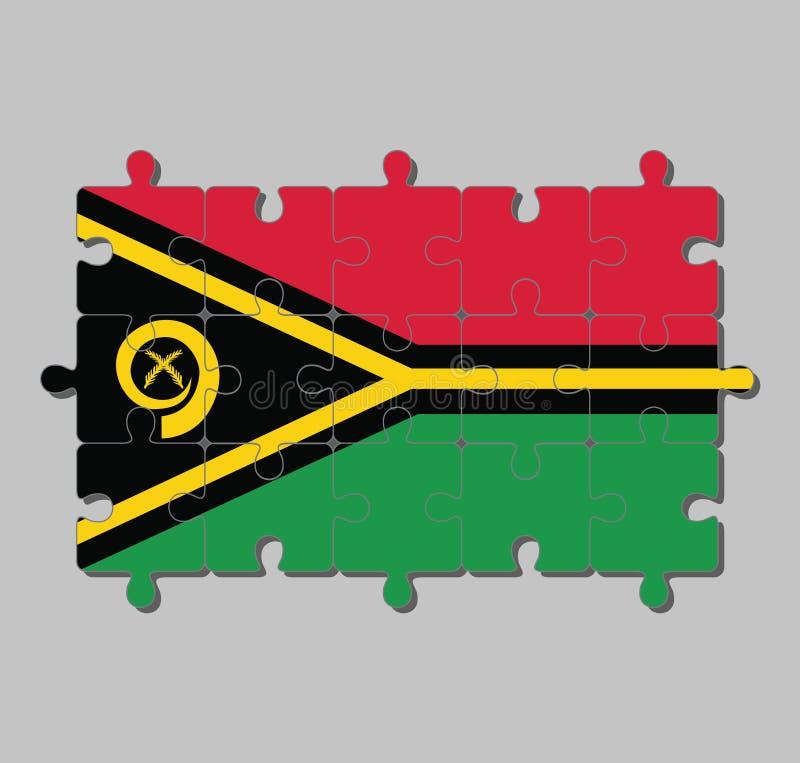 Wyrzynarki łamigłówka Vanuatu flaga w i żółty koloru knura kieł okrąża dwa czerwieni i zieleni z czernią krzyżował paprociowych f ilustracja wektor