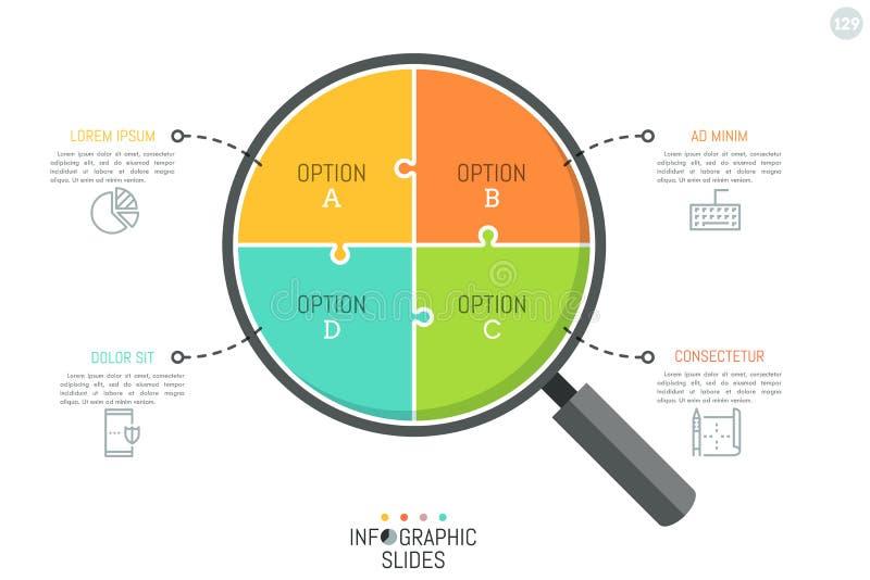 Wyrzynarki łamigłówka w kształcie powiększać - szkło dzielił w 4 części Prosty Infographic projekta szablon Problemowy analizować royalty ilustracja