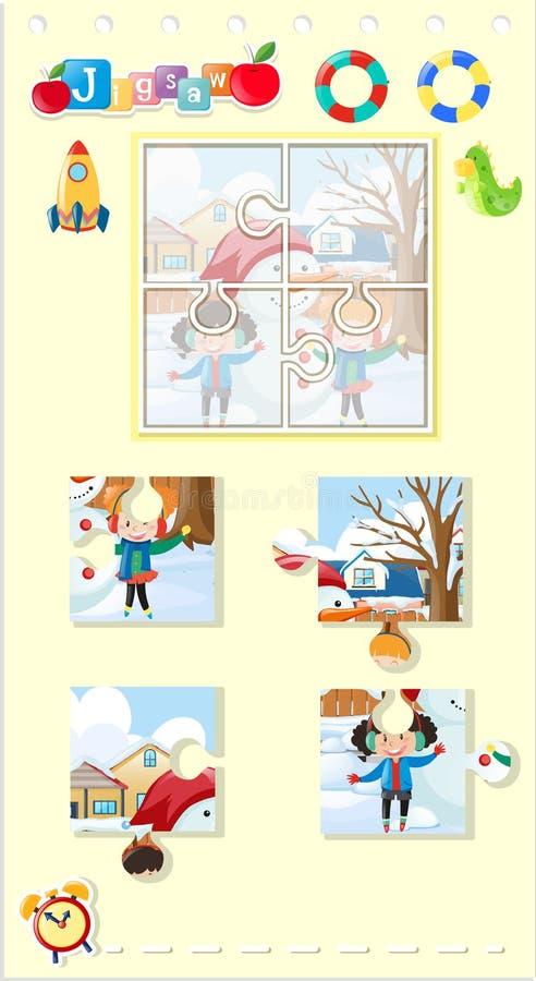 Wyrzynarki łamigłówki gra z dzieciakami i bałwanem royalty ilustracja