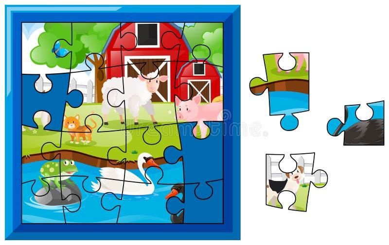 Wyrzynarki łamigłówki gra z zwierzętami gospodarskimi ilustracja wektor