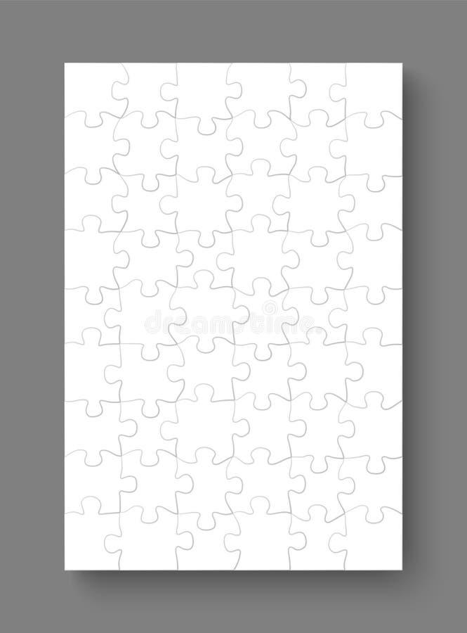 Wyrzynarki łamigłówki mockup szablony, 54 kawałka, wektorowa ilustracja ilustracja wektor