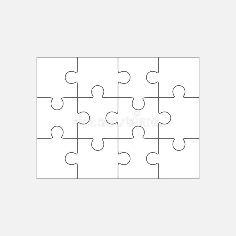 Wyrzynarki łamigłówki pusty szablon 4x3, dwanaście kawałków ilustracji