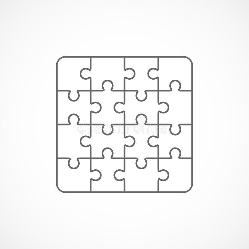 Wyrzynarki łamigłówki szablonu szesnaście puści elementy ilustracja wektor