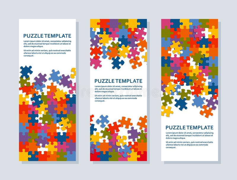 Wyrzynarki łamigłówki tło z wiele kolorowymi kawałkami Abstrakcjonistyczny mozaika szablon ilustracja wektor