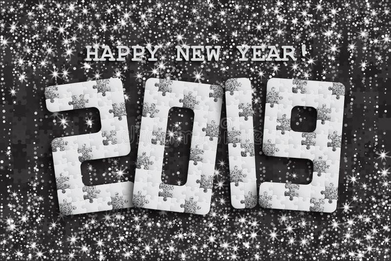 2019 wyrzynarki łamigłówki tło z wiele srebni błyskotliwości i bielu kawałki Szczęśliwego nowego roku Karciany projekt mozaika ab ilustracja wektor