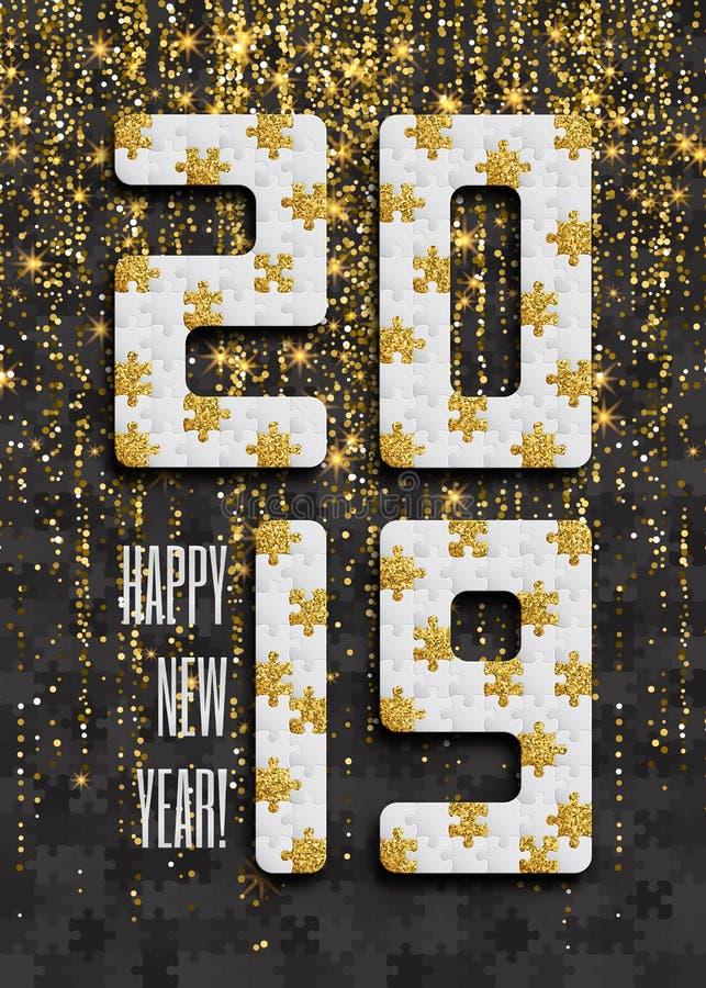 2019 wyrzynarki łamigłówki tło z wiele złoci błyskotliwości i czerni kawałki Szczęśliwego nowego roku Karciany projekt mozaika ab ilustracji
