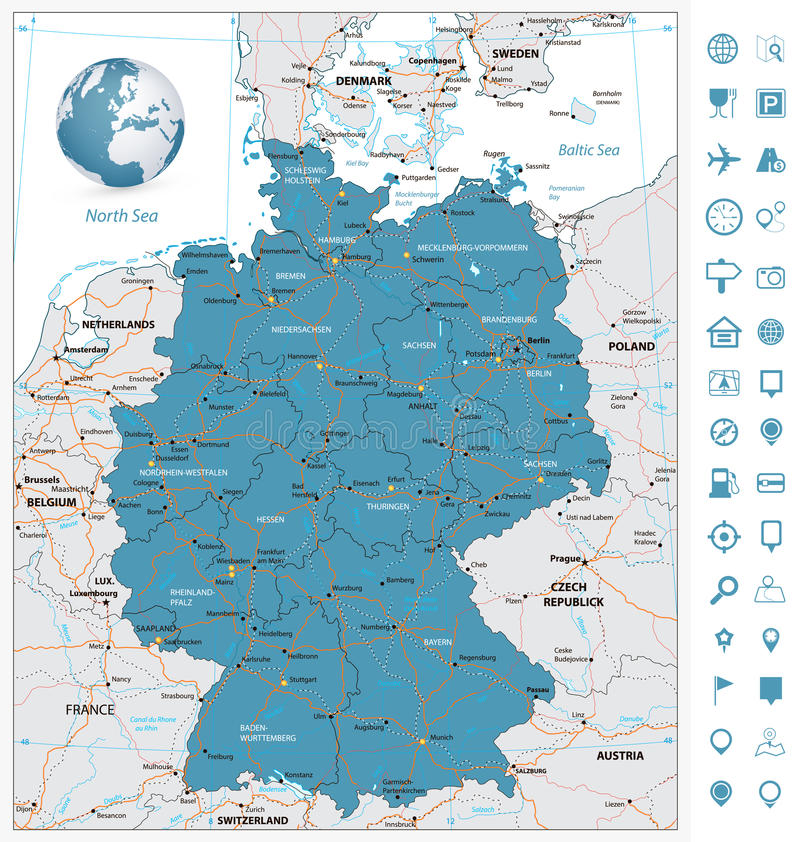 Wysoce szczegółowa drogowa mapa Niemcy z rzekami i nawigacją ilustracja wektor