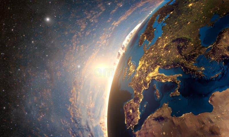 Wysoce szczegółowa planety ziemia w ranku, royalty ilustracja