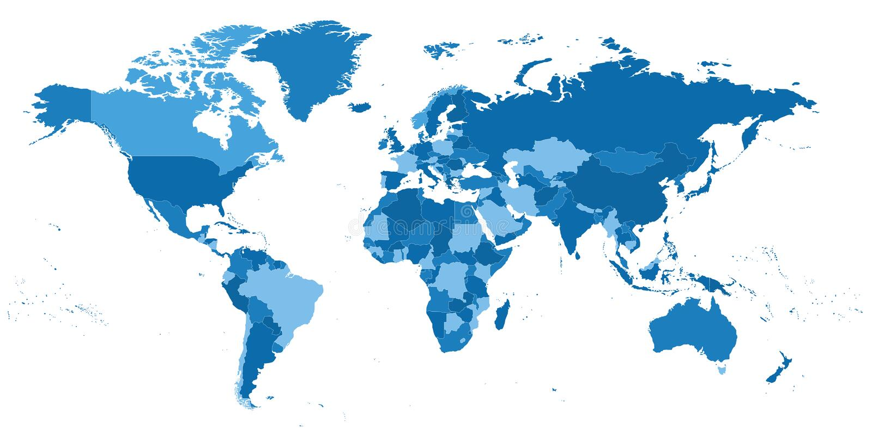 Wysoce szczegółowa polityczna Światowa mapa ilustracji