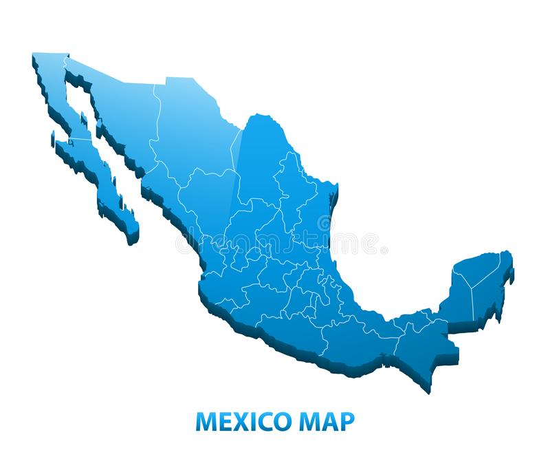 Wysoce szczegółowa trójwymiarowa mapa Meksyk z regionami graniczy ilustracja wektor