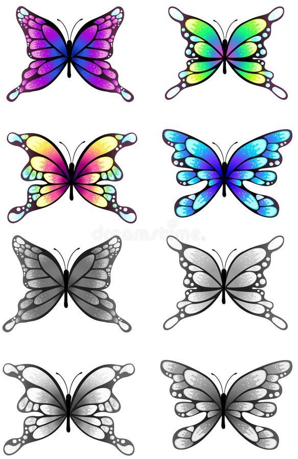 Wysoce wyszczególnia ilustrację sylwetka motyle ustawiający, tworzy ilustracja wektor