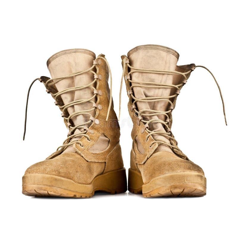 Wysocy bojowi buty odizolowywający na białym tle zdjęcia royalty free