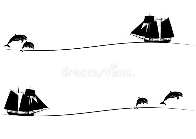 Wysocy statki i delfiny royalty ilustracja