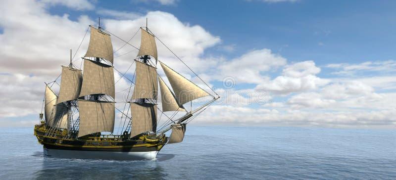 Wysoka żeglowanie statku sztandaru panorama royalty ilustracja